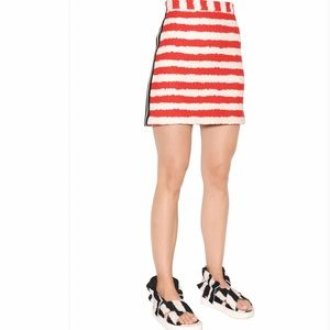MSGM Striped Cotton Tweed Skirt In Red and White